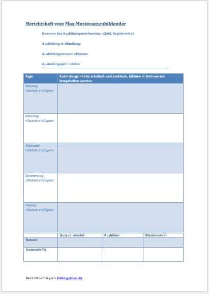 Berichtsheft Vorlage, Ausbildungsnachweis täglich kostenlos downloaden