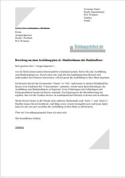 Bewerbung Bankkaufmann Bankkauffrau Vorlage